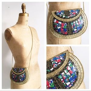 Hard shell metal mosaic boho cross body bag.